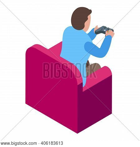 Teen Gaming Joystick Icon. Isometric Of Teen Gaming Joystick Vector Icon For Web Design Isolated On