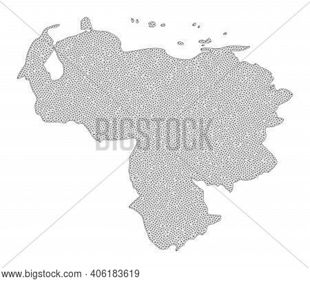 Polygonal Mesh Map Of Venezuela In High Detail Resolution. Mesh Lines, Triangles And Dots Form Map O