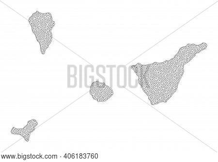 Polygonal Mesh Map Of Santa Cruz De Tenerife Province In High Detail Resolution. Mesh Lines, Triangl