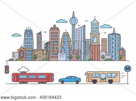 Panorama Of A Big City Metropolis With Modern Buildings And Skyscrapers And City Transport In A Line