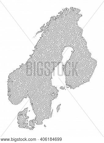 Polygonal Mesh Map Of Scandinavia In High Detail Resolution. Mesh Lines, Triangles And Dots Form Map
