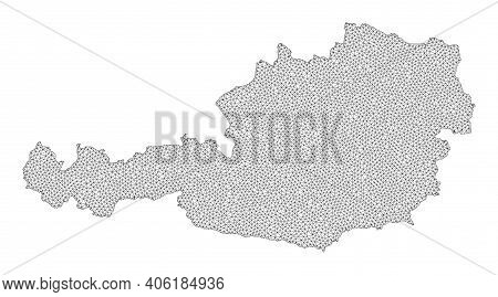Polygonal Mesh Map Of Austria In High Resolution. Mesh Lines, Triangles And Dots Form Map Of Austria