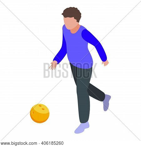 Teen Playing Bowling Icon. Isometric Of Teen Playing Bowling Vector Icon For Web Design Isolated On