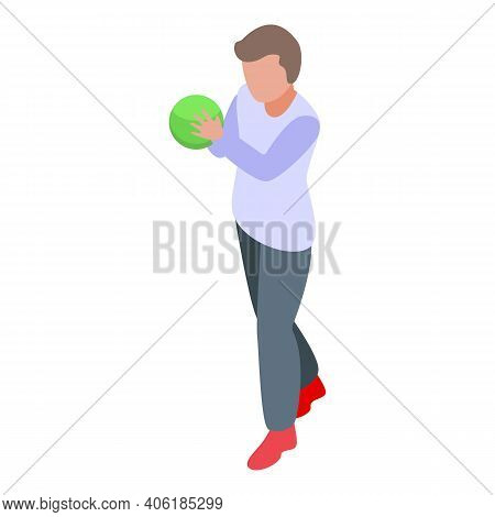 Boy Throwing Bowling Ball Icon. Isometric Of Boy Throwing Bowling Ball Vector Icon For Web Design Is