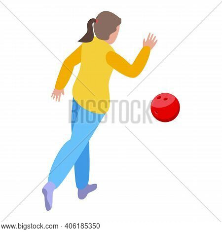 Girl Throwing Bowling Ball Icon. Isometric Of Girl Throwing Bowling Ball Vector Icon For Web Design