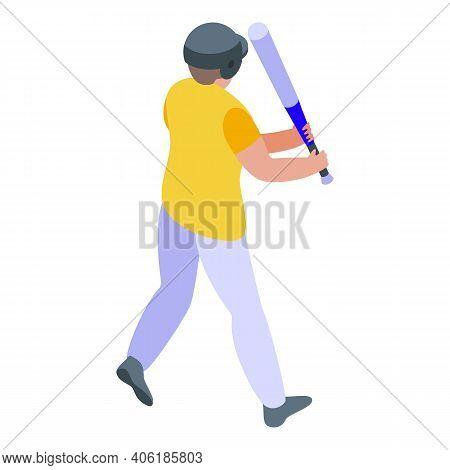 Teen Baseball Player Icon. Isometric Of Teen Baseball Player Vector Icon For Web Design Isolated On