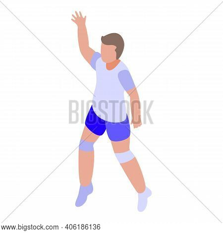 Volleyball Player Icon. Isometric Of Volleyball Player Vector Icon For Web Design Isolated On White