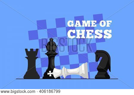 Chess King Lying On Chess Board And Queen Figure Above It
