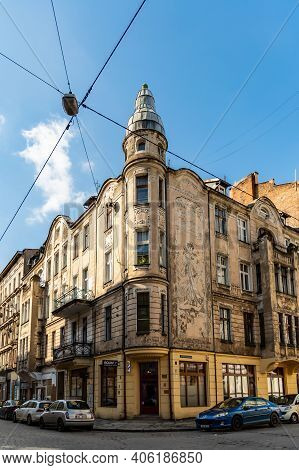 Wroclaw, Poland - March 8 2020 Facade Of Corner Of Old Tenement House With Dome On Top