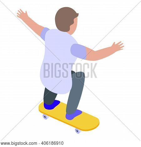 Child Skateboarding Icon. Isometric Of Child Skateboarding Vector Icon For Web Design Isolated On Wh