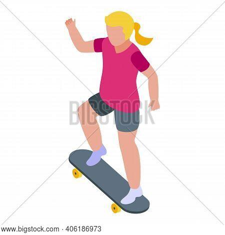 Girl Skateboarding Icon. Isometric Of Girl Skateboarding Vector Icon For Web Design Isolated On Whit