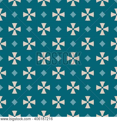 Simple Geometric Floral Seamless Pattern. Abstract Vector Ornament With Small Flower Silhouettes, Cr