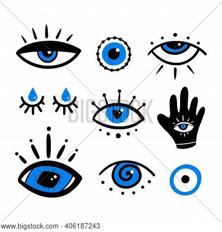 Set, Collection Of Various Mystical Decorative Eyes, Evil Eyes Symbols. Intuition And Spirituality C