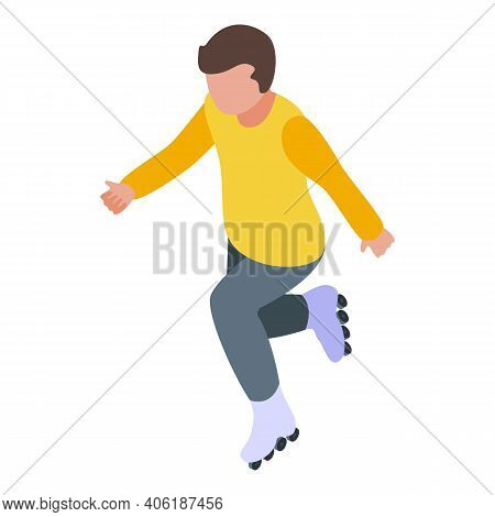 Rollerblade Boy Icon. Isometric Of Rollerblade Boy Vector Icon For Web Design Isolated On White Back