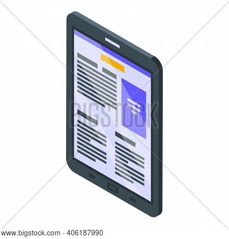 Reader Device Icon. Isometric Of Reader Device Vector Icon For Web Design Isolated On White Backgrou