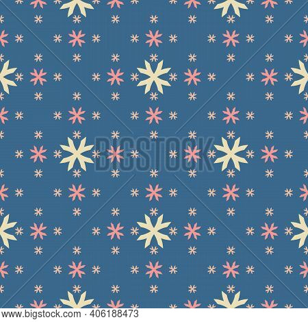Vector Geometric Floral Pattern. Abstract Minimal Seamless Texture. Simple Ornament With Small Flowe