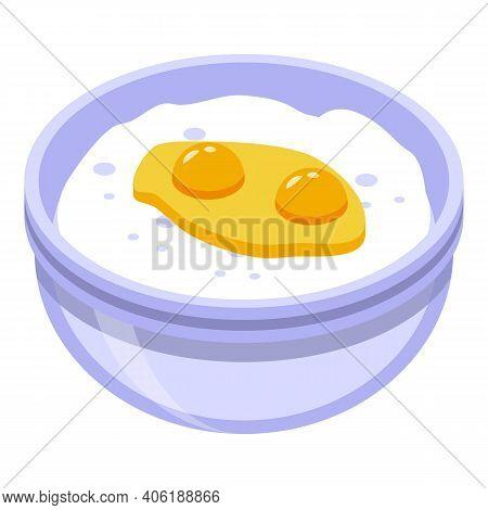 Dough Eggs Flour Icon. Isometric Of Dough Eggs Flour Vector Icon For Web Design Isolated On White Ba