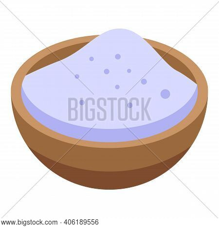 Flour Bowl Icon. Isometric Of Flour Bowl Vector Icon For Web Design Isolated On White Background