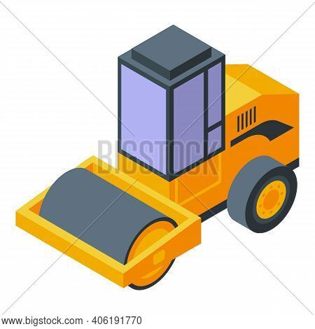 Tunnel Road Roller Icon. Isometric Of Tunnel Road Roller Vector Icon For Web Design Isolated On Whit