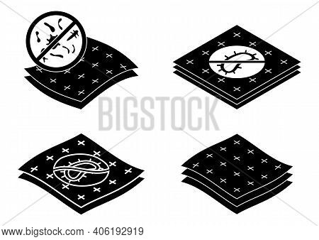 Badges For Material With Antimicrobial And Antiviral Protection. Antibacterial Protection Resistant