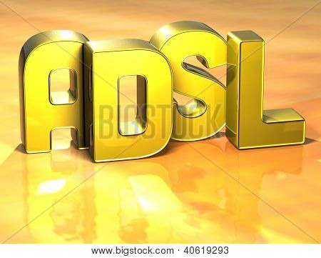 3D Word Adsl On Yellow Background