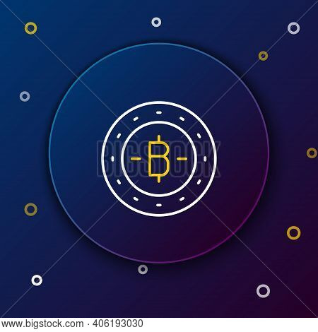 Line Cryptocurrency Coin Bitcoin Icon Isolated On Blue Background. Physical Bit Coin. Blockchain Bas