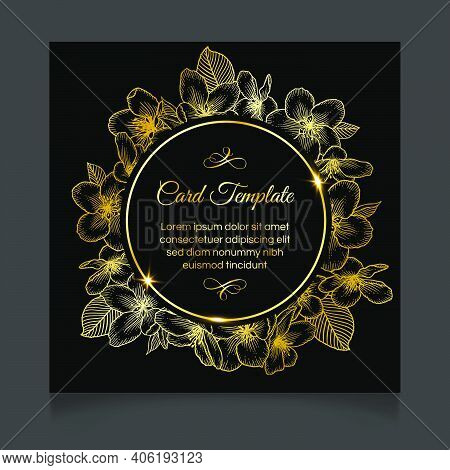 Floral Botanical Wedding Invitation Dark Elegant Card Template With Apple Flowers. Luxury Design For