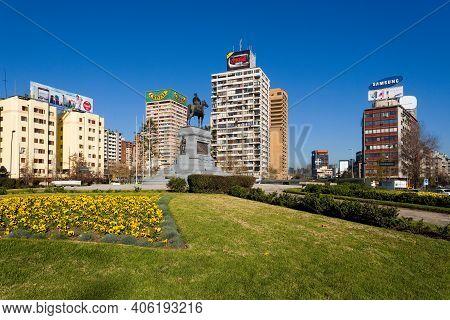 Santiago De Chile, Region Metropolitana, Chile - June 15, 2008: Plaza Italia Square At Downtown In S