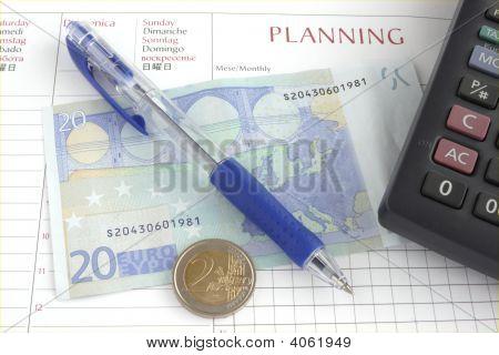 Euro Money, Pen And Calculator