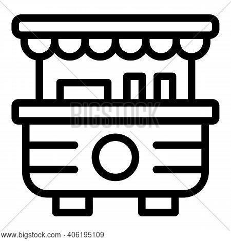 Street Food Vending Icon. Outline Street Food Vending Vector Icon For Web Design Isolated On White B