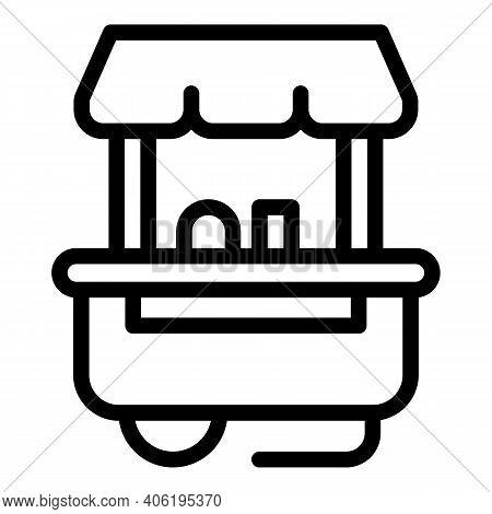 Hot Dog Cart Seller Icon. Outline Hot Dog Cart Seller Vector Icon For Web Design Isolated On White B