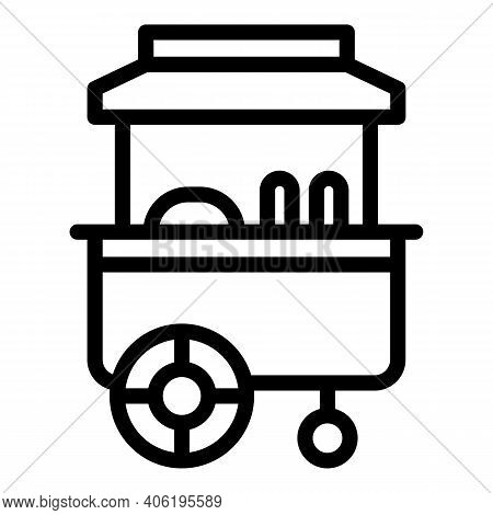 Hot Dog Counter Icon. Outline Hot Dog Counter Vector Icon For Web Design Isolated On White Backgroun