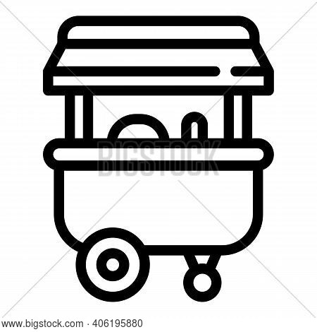 Pushcart Food Street Icon. Outline Pushcart Food Street Vector Icon For Web Design Isolated On White