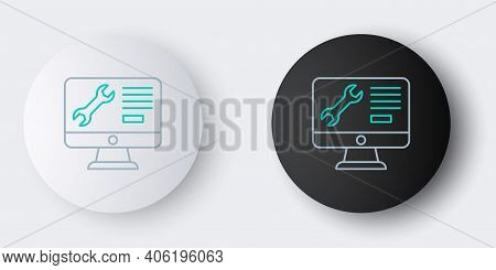 Line Computer Monitor With Wrench Icon Isolated On Grey Background. Adjusting, Service, Setting, Mai