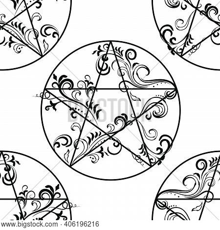 Ornate Pentagram Monochrome Seamless Pattern, Magic Occult Star Symbol Background. Vector Illustrati