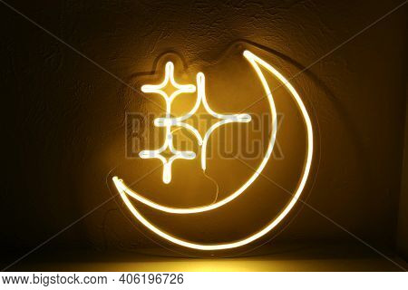 Neon Sign Moon And Stars. Trendy Style.  Neon Sign. Custom Neon. Home Decor. Good Night.