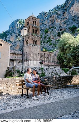 The Village Of Moustiers-sainte-marie, Provence, France Europe, A Colorful Village In The Provence F