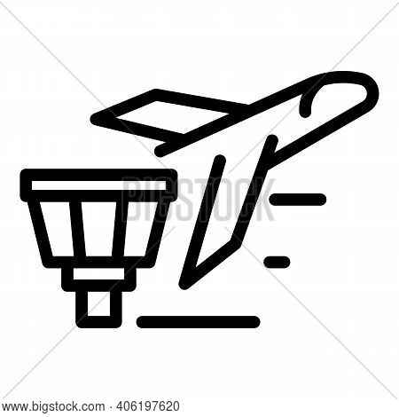 Plane Departing Icon. Outline Plane Departing Vector Icon For Web Design Isolated On White Backgroun