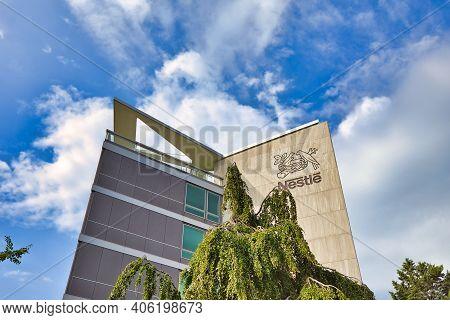 Vevey, Switzerland - August 14, 2020: Nestle Headquarter Building Office And Logo. Nestle Is Largest