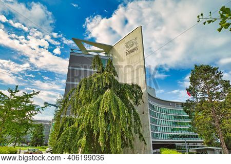 Vevey, Switzerland - August 14, 2020: Nestle Headquarter Office Buildings With Logo In Canton Vaud,