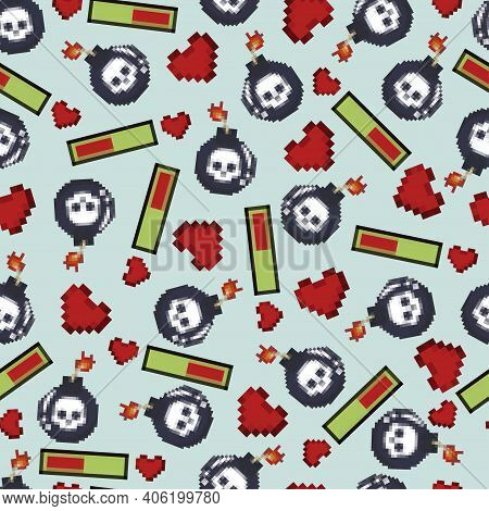 Pixel Bomb With Skull And Bar With Heart Vector Seamless Pattern. 8 Bit Game Element Texture For Wal