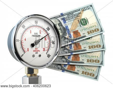 Gas pression gauge meter with dollar banknotes. Gas price and heating costs payment concept. 3d illustration