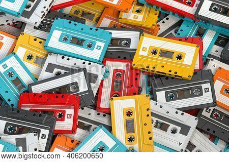 Heap of vintage audio cassettes. Retro music concept background. 3d illustration