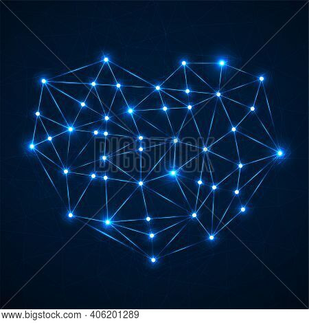 Abstract Neon Geometric Heart Of Lines And Dot, Glowing Polygonal Shape. Valentines Day Background