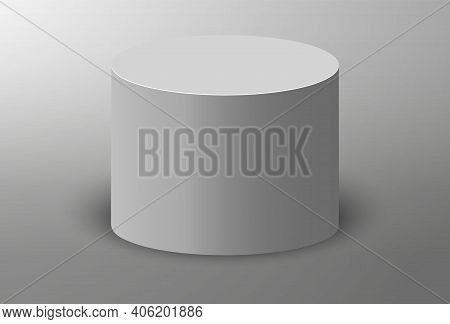 3d Podium. Pedestal Platform Or Showroom Stand. White Round Studio Stage Platform. Empty Arena.
