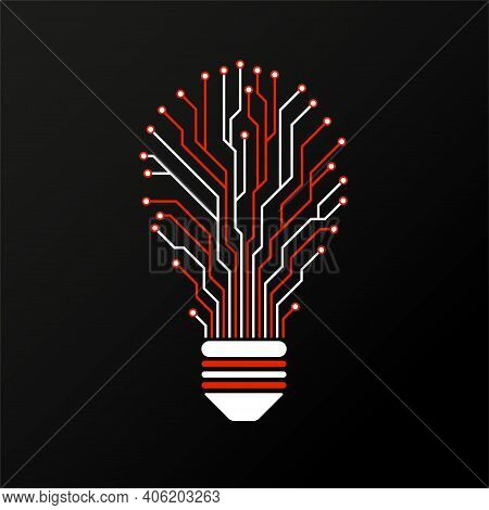 Abstract Colorful Lamp With Circuit Board. Technology Light Bulb