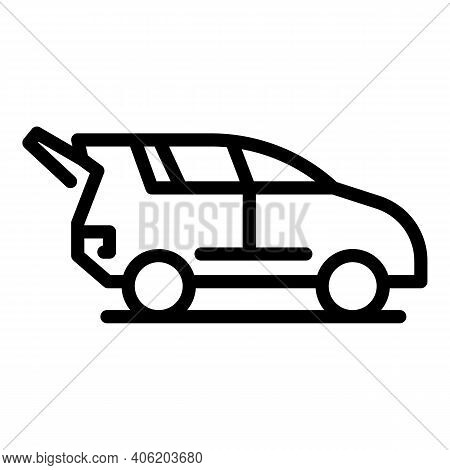 Trunk Car Icon. Outline Trunk Car Vector Icon For Web Design Isolated On White Background