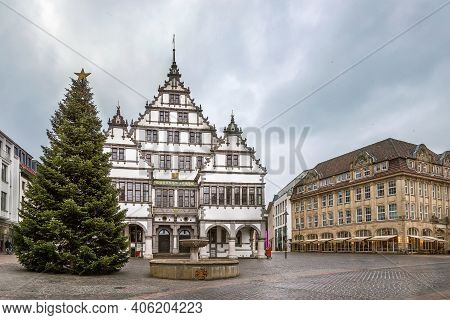 Renaissance Town Hall Was Constructed In 1616 On Square In Paderborn City Center, Germany
