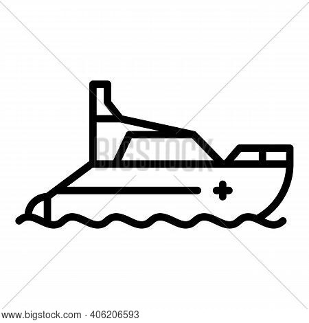 Motor Lifeboat Icon. Outline Motor Lifeboat Vector Icon For Web Design Isolated On White Background