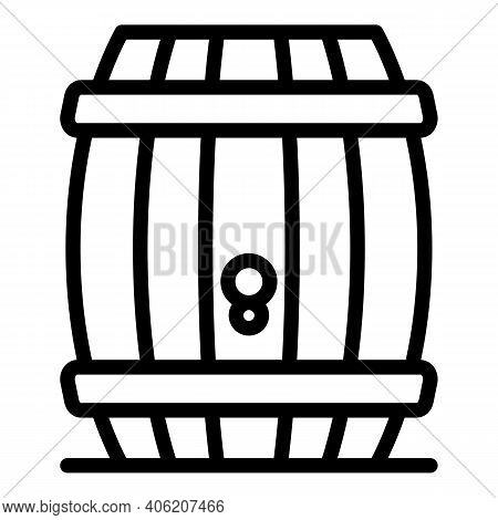 Bourbon Wood Barrel Icon. Outline Bourbon Wood Barrel Vector Icon For Web Design Isolated On White B